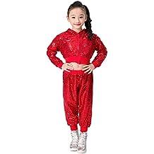 270ea5d30cbb9 niños niñas Lentejuelas Hip Hop Traje de Calle Conjunto de Ropa de Baile