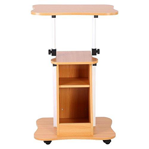 Zerone scrivania porta pc con ruote, regolabile in piedi da tavolo computer supporto portabile tavolino regolabile di altezza per lavoro studio