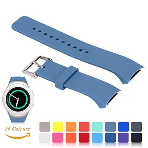 Für Samsung Gear S2 SM-R720/R730 Wiedereinbau UhrBand, iFeeker Zubehör Soft Silikon Armbandband Smartwatch Band Gemeinsame Design für Samsung Galaxy Gear S2 SM-R720/SM-R730 (Klein oder Groß, 16 Farben Auswahl)