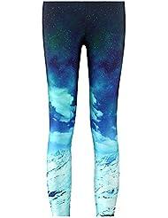 SaiDeng Mujer Pantalones Elásticos Aventura Patrón De Galaxia Casual Leggings 4XL