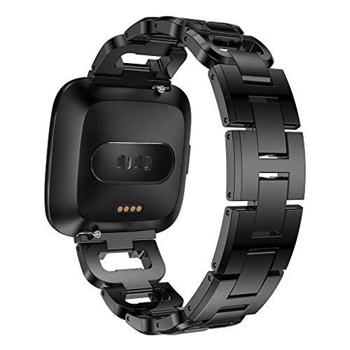 nd für Fitbit Versa aus Edelstahl, modisch, für Damen und Herren, luxuriös, verstellbares Handgelenkband, Kristall-Strass-Metall-Zubehör für Lite Special Schwarz schwarz 42mm/44mm ()