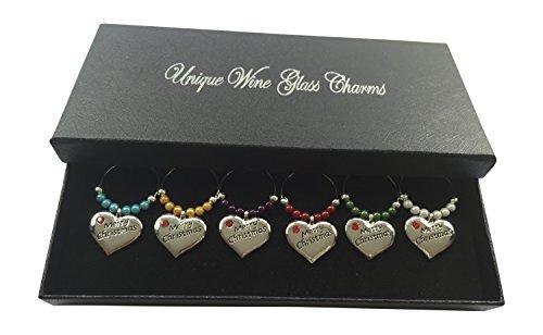 Bunte Weihnachten Weinglas-Charms mit Geschenk-Box handgefertigt von Libby 's Market Place ~ von UK...