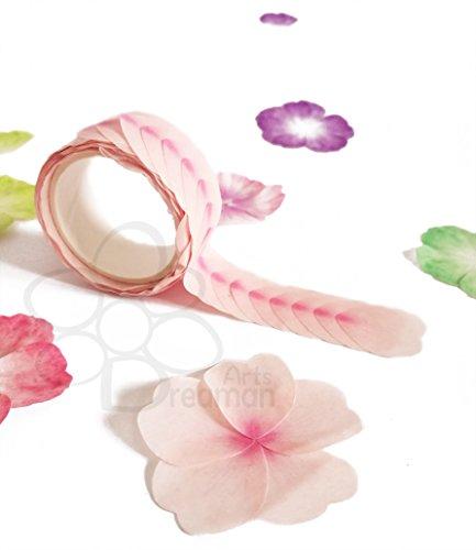 Dreaman - Adhesive Blütenblätter / Masking Tape / 3D Sticker / Washi Tape / Klebeband / Dekorative Sticker - Ideal für Dekoration / Hand Kreationen / Scrapbooking / DIY / Collage / Postkarte / Geburtstagskarte / Geschenk - Hellrosa