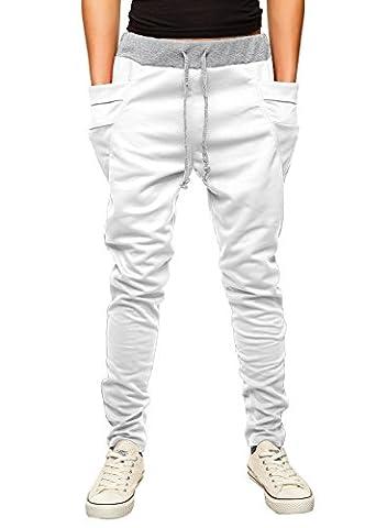 HEMOON Homme Pantalon de sport/jogging Sarouel Fitness Loose Crotch pants Blanc XS