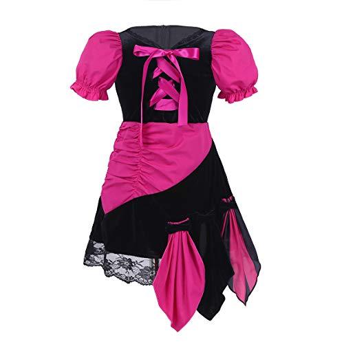 iixpin Baby Kinder Piraten-Kostüm Kinderkostüm Piratin Kleider Mädchen Cosplay Fasching Karneval Verkleidung Trachtenkleid Gr.80-110 Schwarz&Rosa 86-92 (Kinder Rosa Piraten Kostüm)