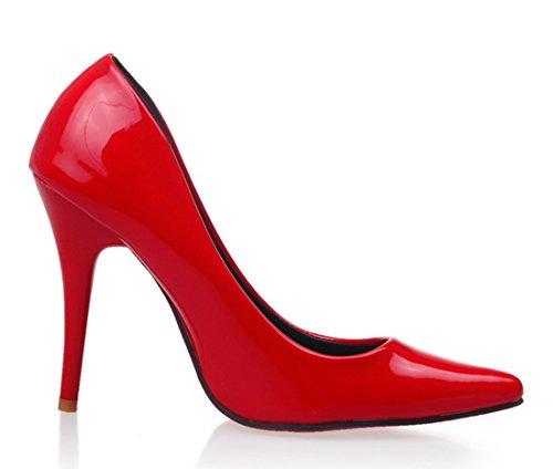 YE Damen High Heels Spitze Stilettos Lackleder Pumps mit Roter Sohle 10cm Absatz Kleid Schuhe Rot