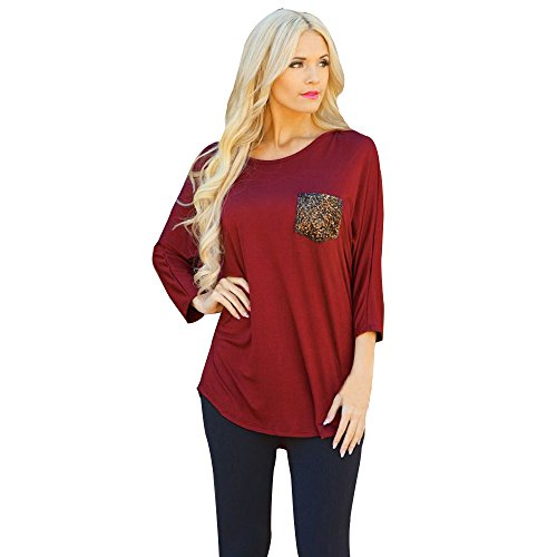 AMUSTER Moda Donne Sciolto Pullover T Shirt Manica Lunga Rosso Top Camicia Camicetta (M)