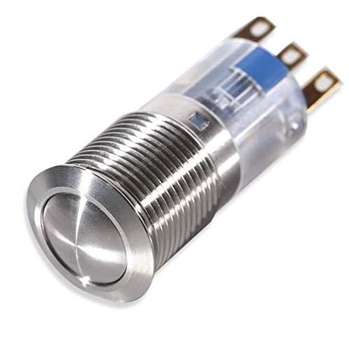 Metzler-Trade® Druck-Schalter aus Edelstahl (rund) - Einbau-Durchmesser: 16 mm - Schaltleistung: 3 Ampere 250 Volt - IP67 Schutzart -