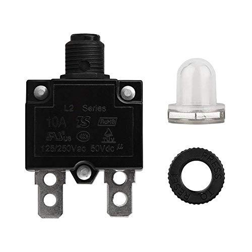 QIND LS Schalter, 5A/10A/15A/20A/30Amp Circuit Breaker Panel Mount Air Switch zurücksetzbar thermischen Sicherung Stromunterbrecher, Schwarz, 10a