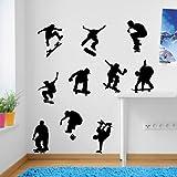 Décorations murales Sport Skateur Skate Stickers de fenêtres Stickers Autocollants muraux colorés DIY Déco repositionnable, Vinyle, noir, Taille L