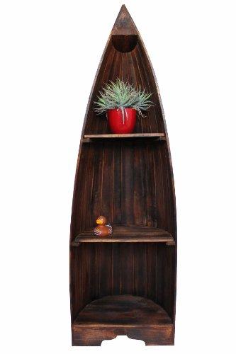 Naturesco Exotisches Bootsregal Regal Boot Holz braun dunkelbraun 145cm -
