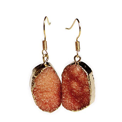 OOFAY Natürliche Kristall Ohrringe, Rosenquarz Handgefertigte Anhänger Ohrbügel für Party Hochzeit Liebe Geschenk (1 Paar),A