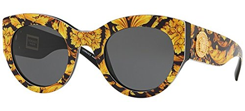 Ray-ban 0ve4353, occhiali da sole donna, nero (baroque yellow/black), 51