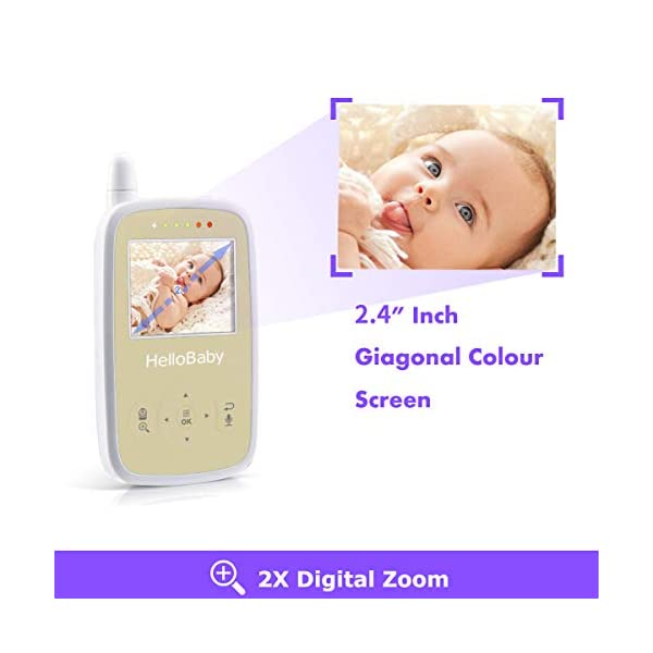 "HelloBaby HB248 Video Baby Monitor with Remote Camera Pan-Tilt-Zoom, 2.4'' Color LCD Screen, Infrared Night Vision, Temperature Monitoring, Lullaby, Two Way Audio, Includes Wall-mounting Parts HELLO BABY 2.4"" LCD DISPLAY & 2.4GHz WIRELESS TECHNOLOGY: This video baby monitor is equiped with a 2.4 inch TFT LCD display. Application of frequency hopping and digital encryption technology ensures secure and reliable connection. REMOTE PAN TILT and ZOOM: Remote control camera rotate 355° in horizontal and 120° vertical ensuring you always have a clear view of your baby from any angle. TWO WAY TALK: The crystal clear two-way audio feature allows conversation both ends as clear as if you were in the same room with your little one. 6"