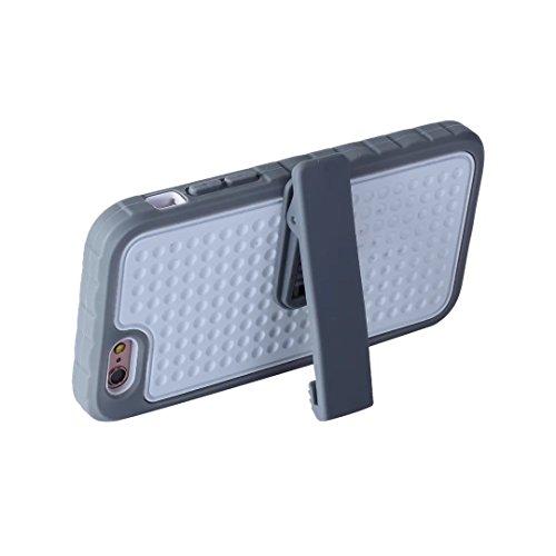 iPhone 6 Plus Hülle,iPhone 6S Plus Hülle,Lantier Einzigartiger Anti-Rutsch Design mit Gürtel Clip Shockproof Rugged 3 in 1 Rüstung Schutzhülle für iPhone 6 Plus /6S Plus 5.5 inch Schwarz Belt Clip Series Grey+White