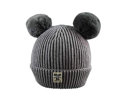 �sch Ball Baby Earmuffs Strick Kappe Kind Warm Hat Baby Wool Cap Kids Polka Dot Cap Warm Halten (6 Monate-3 Jahre Alte Kinder),Gray ()