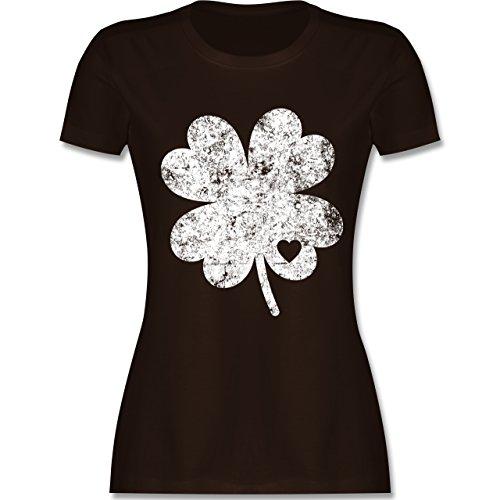 Shirtracer St. Patricks Day - Vintage Kleeblatt mit Herz - Damen T-Shirt Rundhals Braun