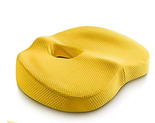 ODEER Sitzkissen für Bürostuhl PPW Gedächtnisschaum Materialien Atmungsaktiv Gemütlich Haltung verbessern Ischias Schmerzlinderung und Hüftformung,Gelb