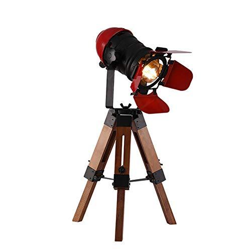 Vintage verstellbare Kino Tischlampe - nautisch schwarz Retro-Stil Stativ Strahler Scheinwerfer aus Holz Stativ Stehlampe Kino Film Requisiten-Nicht enthalten E26 Lampen