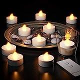 Deuba® 10x LED Teelichter flackernd | inkl. Fernbedienung und Batterien | Farbe warmweiss - Set elektrische Kerzen Teelicht flammenlos