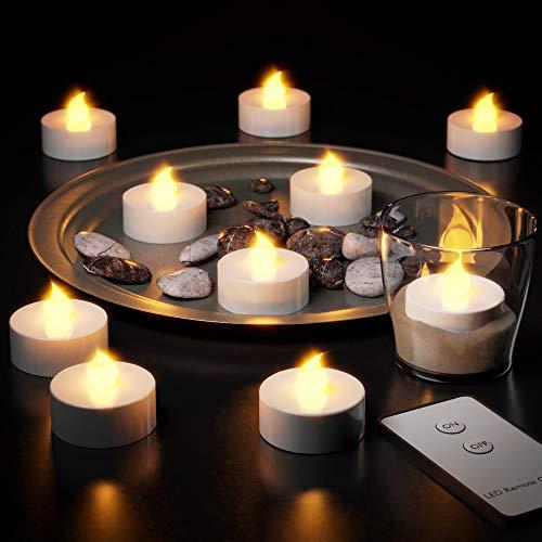Deuba® 10x LED Teelichter flackernd   inkl. Fernbedienung und Batterien   Farbe warmweiss - Set elektrische Kerzen Teelicht flammenlos