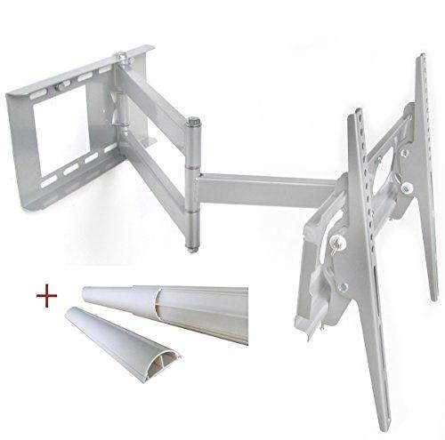 TV Wandhalterung Silber universell Schwenkbar Neigbar Plasma LCD LED Wandhalter TV Halter für Fernseher bis 165cm (65 Zoll) mit VESA von 100x100 bis 400x400   Wandabstand von 10 bis 65 cm