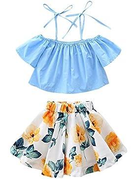 Covermason Niñas Moda Sin Tirantes Tops y Floral Impresión Mini Falda (1 Conjunto)
