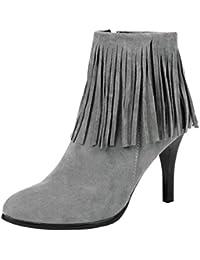 AgooLar Damen Reißverschluss Stiletto Schließen Zehe Stiefel, Rot, 34