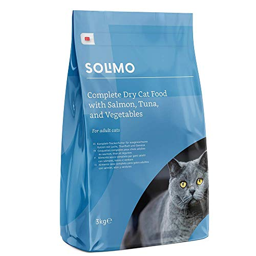 Marque Amazon - Solimo - Croquettes complètes pour chats adultes au saumon, thon et légumes, 3 Packs de 3kg