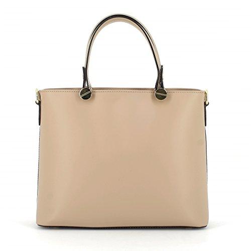 dfabecc70bcfb Laura Moretti Handtasche aus Leder mit goldenen Schrauben Taupe ...