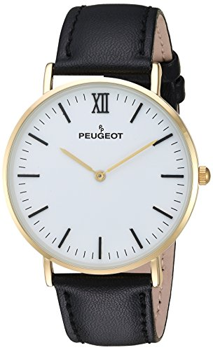 Peugeot Men's Analog-Quartz Watch with Leather-Calfskin Strap 2050WT