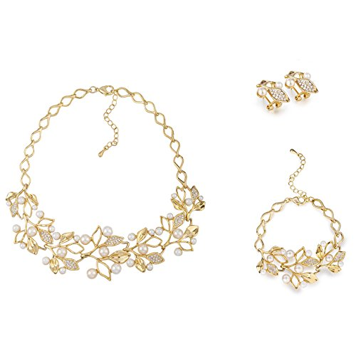 d5edf77799 swarovski elements jewellery. Polyhymnia, The Tiara Vine Necklace Set,  Graceful Gold Leaves and Pearl Buds Contour Style