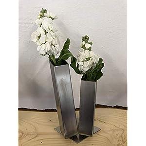 Edelstahl Blumenvase Vase Vasen eckig rostfrei Spülmaschinen geeignet geschliffen 40x40 Dekoration Deko silber modern