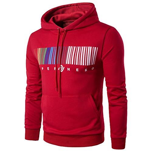 Amcool 2019 Herren Hoodie Kapuzenpullover Sweatshirt Pullover Casual Stripe Printed Hoodie Outwear Streetwear Sport Style Casual Sweatjacke Mit Kapuze - Printed Stripe Crew Neck Tee