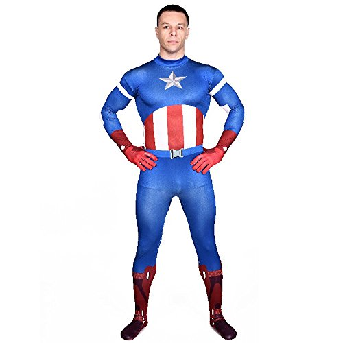 America Avengers Captain Kostüm Material - Herren Ganzkörperanzug Captain America The Avengers Kostüm Superheld Overall, Größe:L