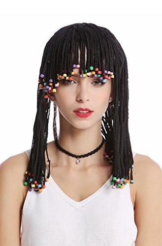 WIG ME UP - MH-F152-ZA103 Perücke Damen Herren geflochtene Strähnen Zöpfe & Perlen Pony schwarz Afro Karibik Look Sexy Hippie Kurtisane Haremsdame