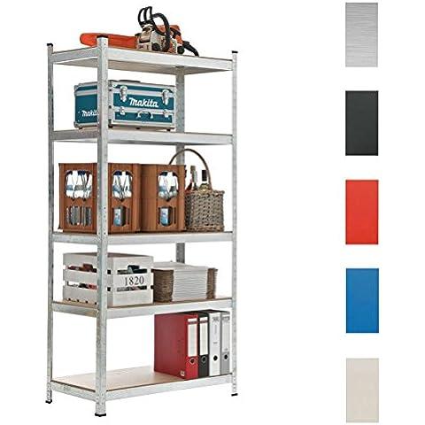CLP Estantería galvanizada para almacenar cargas pesadas, en metal con una carga máxima de 875 kg, 5 colores y 3 alturas para eligir plateado, 90x40x180