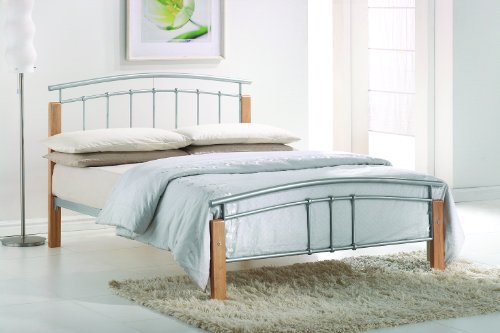 Thiago Modern Beech Wooden Silver Metal Bed Frame Contemporary Bedstead Bedroom Furniture (4FT6 Double)