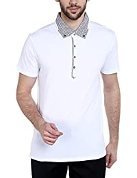 Dream Of Glory Inc. Men's Branded Half Sleeve Cotton Polo Buttoned Geo Woven Collar And Pocket T-Shirts For Men...