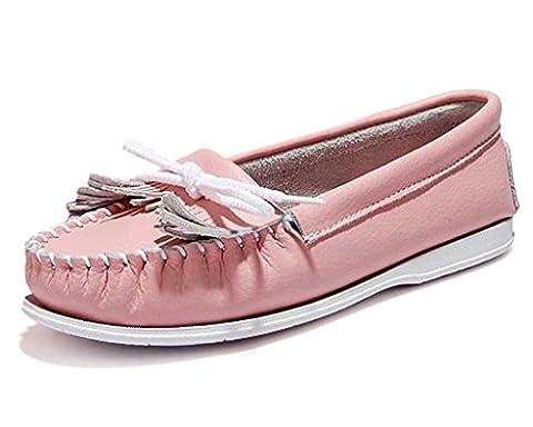Minetom Nouveau Femmes Tassel Mocassins Cuir Bout Rond Flats enceinte Doux Chaussures Pink EU 39