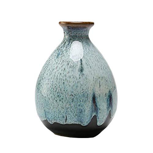Mini chinesische Keramik Blumenvase Bud Vase Weinflasche, ideales Geschenk für Home Office, Dekor, Tischvasen, Bücherregal Ornamente Flaschen, Celeste