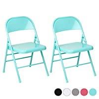 Hartleys Set of Two Metal Folding Chairs - Choice of Colour