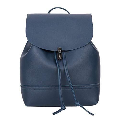HCFKJ Schultasche, Vintage Reine Farbe Leder Schulranzen Rucksack Satchel Frauen Reisen Umhängetasche (Blue)