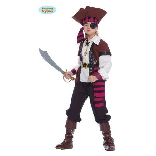 Costume Pirata dei Sette Mari Bambino - Large 10 - 12 Anni, Marrone