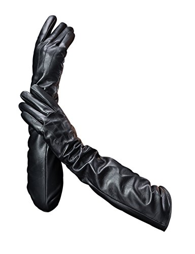 "YISEVEN Damen Touchscreen Lang Lammfelll Lederhandschuhe mit Warm Gefüttert Elegant Winter Leder Autofahrer Handschuhe, Schwarz Klein/6.5\"""