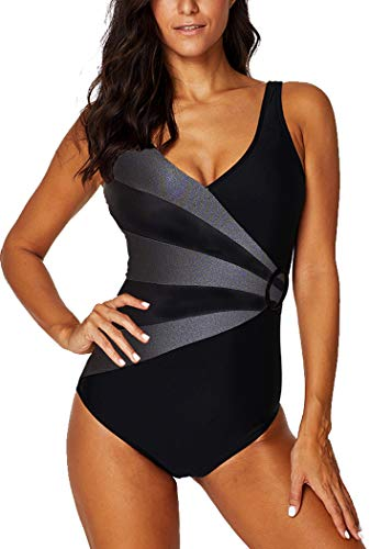 AOQUSSQOA Damen Badeanzug Einteilege Leopardenmuster Bademode Figurformend Bauchweg Bikini Große Größe Strandmode (EU 44-46 (2XL), Grau)
