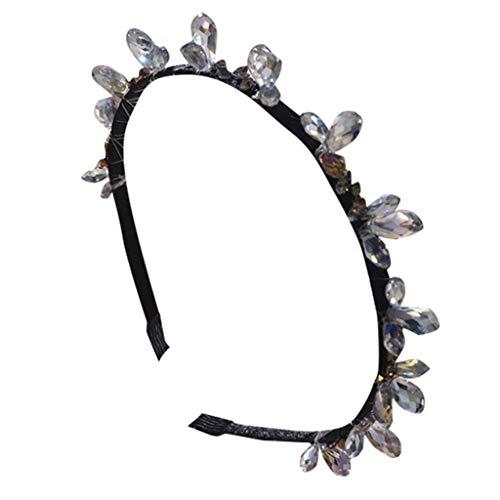 HAUXIN❤ Elastische Blume Gedruckt Sportliche Unisex Schwarz Multi-Stil Frühling Welle Knoten Stirnband Twist Knoten Haarbänder Kreuz Knoten Stirnband Breite Stirnbänder -