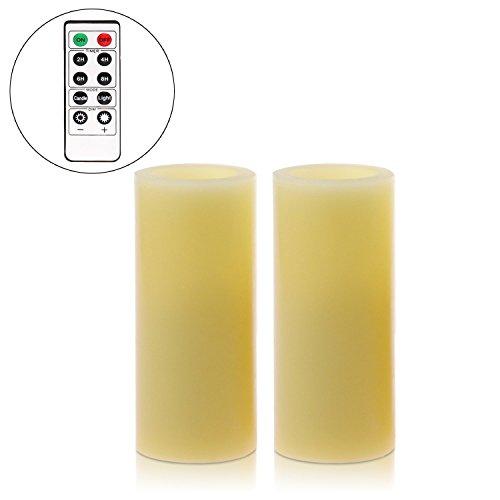 Velas LED, Orar, velas, velas, con mando a distancia y temporizador, funciona con pilas), Amarillo, cera para decoración de casa & iluminación (5,1 x 10.2 cm)