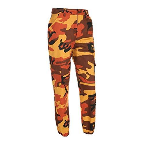 Damen Camouflage Hose Mädchen Hip Hop Jogger Trainingshose Casual Sport Camo Cargo Hosen (Orange, S) -