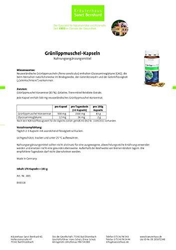 Sanct Bernhard Grünlippmuschel-Kapseln 500 mg Inhalt 170 Kapseln